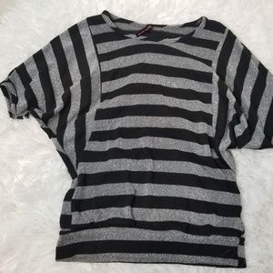 Lily Bleu Black & Gray Striped Dolam Sleeve Blouse